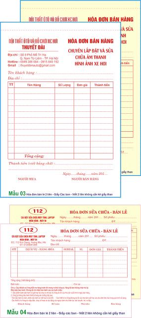 In hóa đơn các bon 2 liên